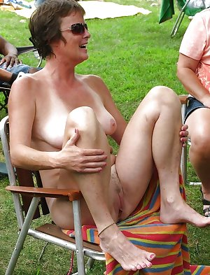 Matures nude in public